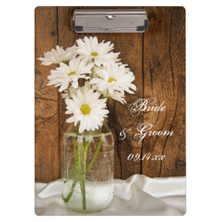 Mason Jar White Daisies Wedding Planning Clipboard