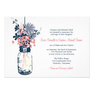 Mason Jar Wild Flowers Personalized Invitations