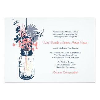 Mason Jar & Wild Flowers Personalized Invitations