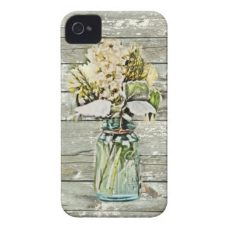 Mason jar wildflower barn wood french country iPhone 4 cases