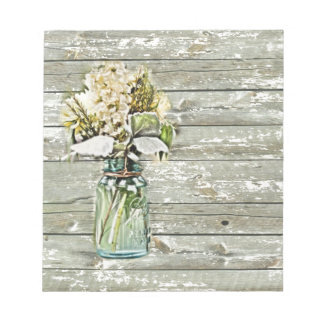 Mason jar wildflower barn wood french country notepad