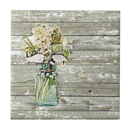 Mason jar wildflower barn wood french country tile