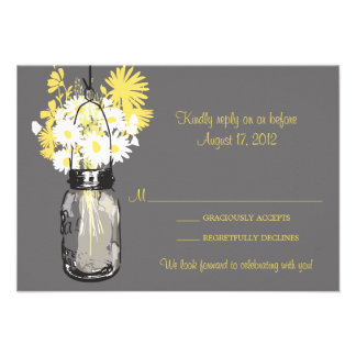 Mason Jar Wildflowers RSVP Card Announcements