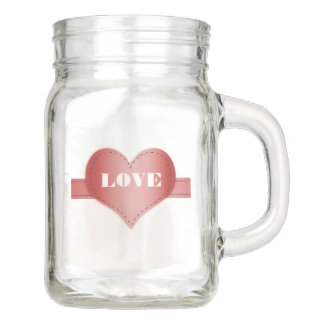 Mason Jar with Hearts and Love