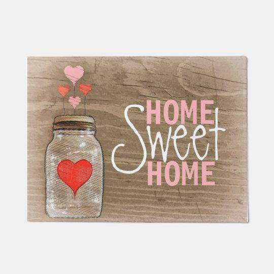 Mason Jar With Hearts Rustic Doormat