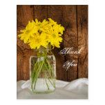 Mason Jar Yellow Daisies Country Wedding Thank You