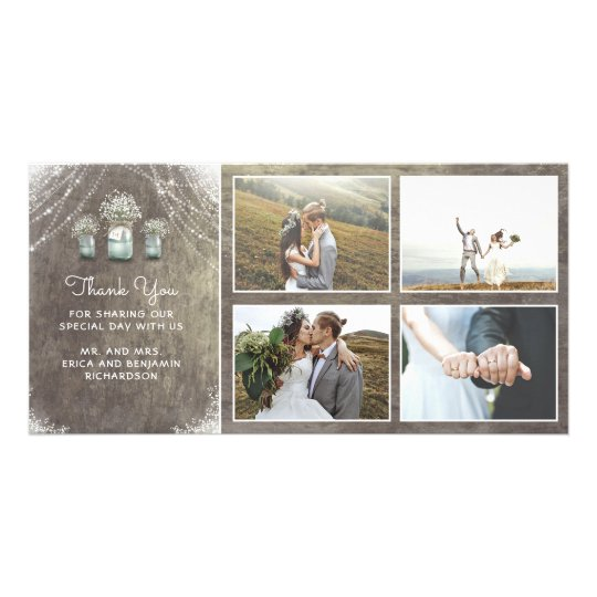 Mason Jars and Baby's Breath Rustic Wedding Picture Card