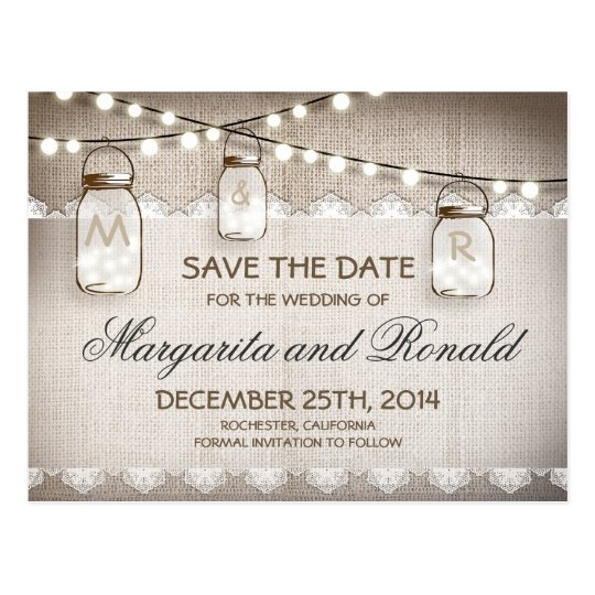 Mason Jars and burlap Lace Save the Date
