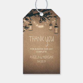 Mason Jars and Fireflies Rustic Wedding Gift Tags