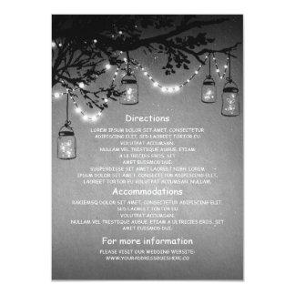 mason jars and fireflies wedding information cards 11 cm x 16 cm invitation card