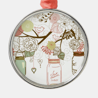 Mason Jars and Pretty Flowers Christmas Ornament