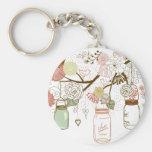 Mason Jars and Pretty Flowers Key Chain