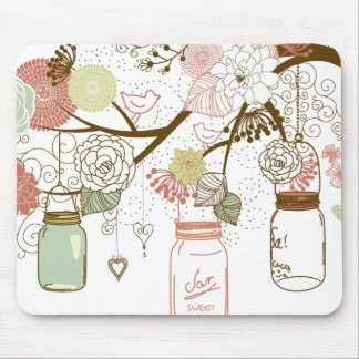 Mason Jars and Pretty Flowers Mouse Mat