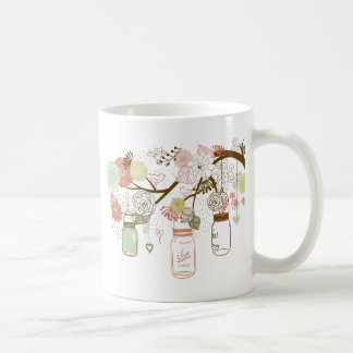 Mason Jars and Pretty Flowers Coffee Mugs