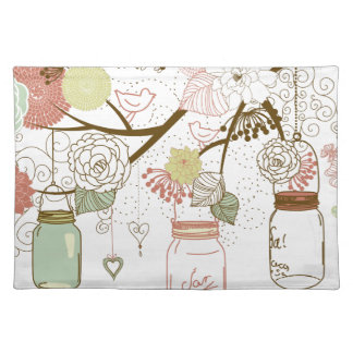 Mason Jars and Pretty Flowers Placemat