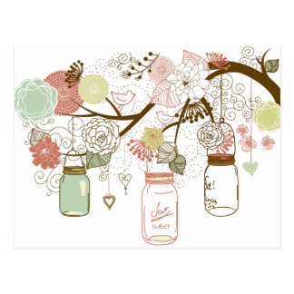 Mason Jars and Pretty Flowers Postcard
