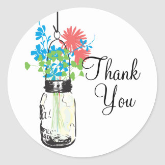 Mason Jars and Wildflowers Thank You Classic Round Sticker