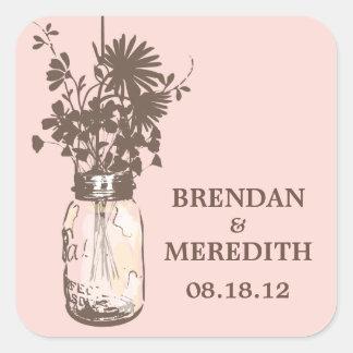 Mason Jars and Wildflowers Wedding Square Sticker