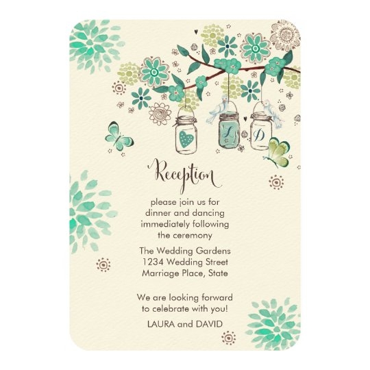 Mason Jars Garden Wedding Reception Programm Card