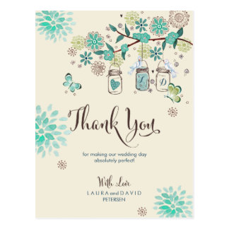 Mason Jars Garden Wedding | Thank you Card