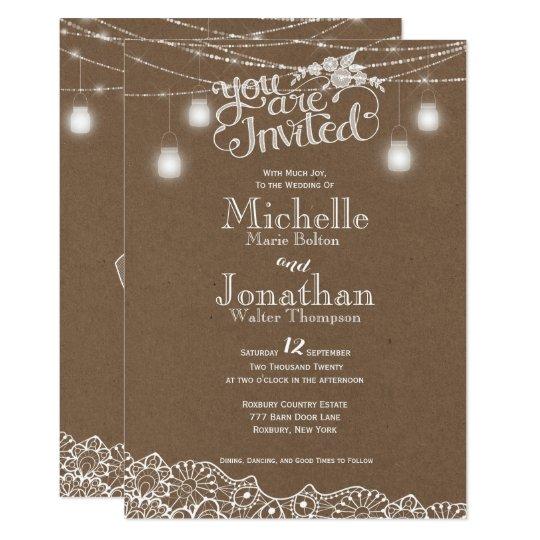 Mason Jars Lights Lace Rustic Wedding Invitation