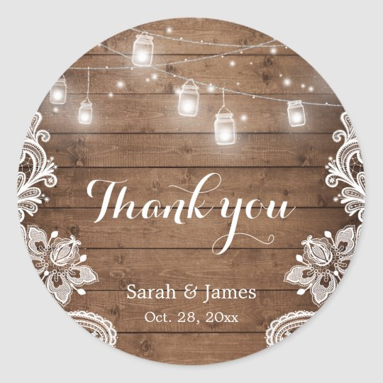 Mason Jars Lights Lace Rustic Wood Wedding Favour