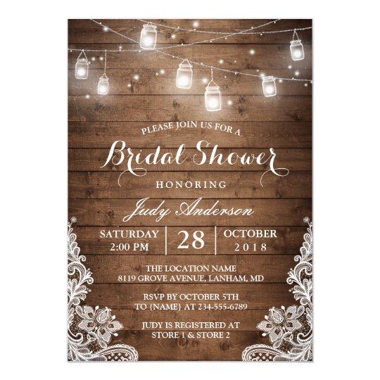 mason jars lights rustic wood lace bridal shower invitation