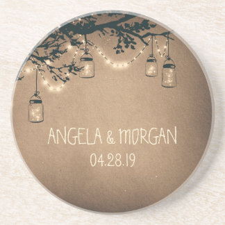 Mason Jars Rustic Fireflies Wedding Coaster