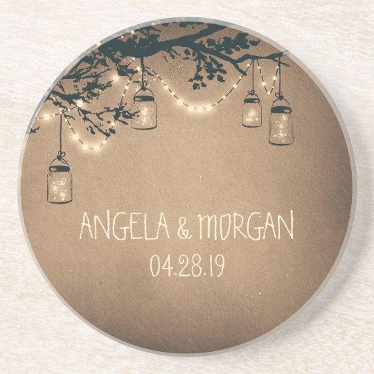 Mason Jars Rustic Fireflies Wedding Coaster
