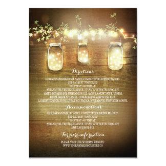 Mason Jars String Lights Wedding Information Cards 11 Cm X 16 Cm Invitation Card