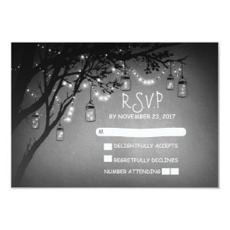 Mason jars tree country rustic wedding RSVP cards