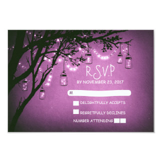 Mason jars tree country rustic wedding RSVP cards