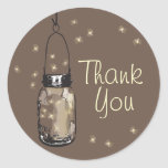 Mason Jars with Fireflies Thank You Round Stickers