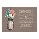 Mason Jars with Wildflowers Bridal Shower Custom Invitations