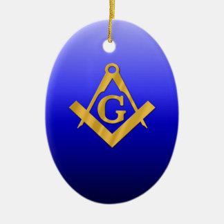 Mason Masonic with Gradient Blue Christmas Ornament