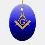 Mason Masonic with Gradient Blue Christmas Ornaments