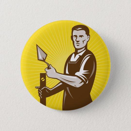 mason plasterer construction worker 6 cm round badge