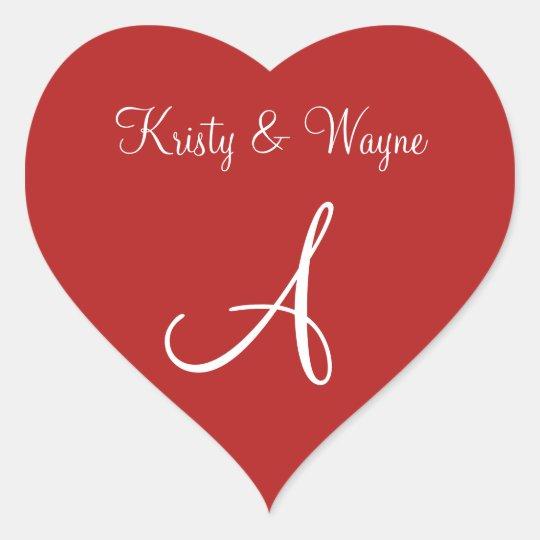 Mason Red Custom Letter Weddings Heart Sticker