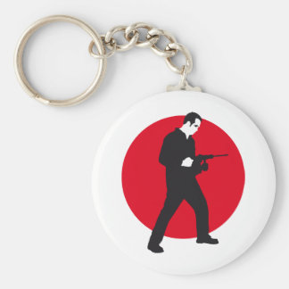 mason with drill hammer basic round button key ring