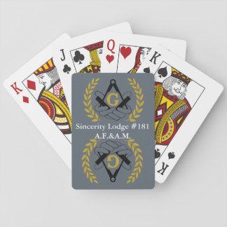 Masonic back playing cards
