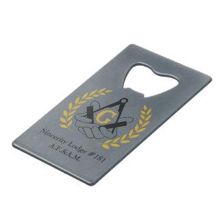 Masonic bottle opener card