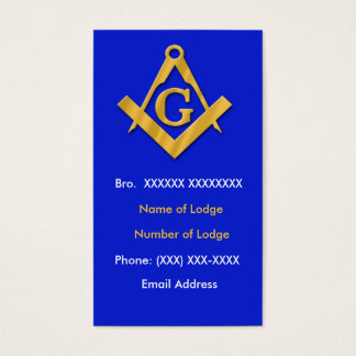 Masonic Business Blue and Gold Business Card