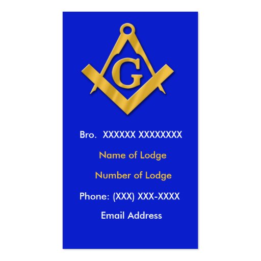 Masonic Business Blue and Gold Business Card Templates