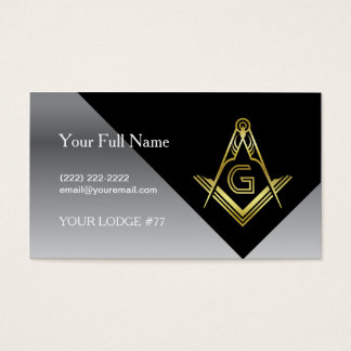Masonic Business Card Designs | Black Gold Silver