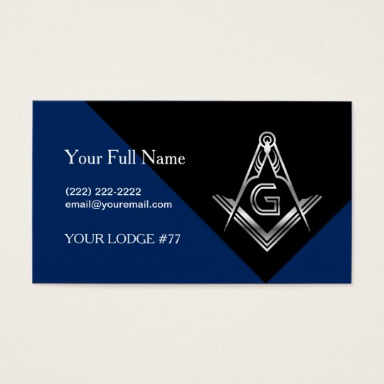 Masonic Business Card Template | Blue & Silver