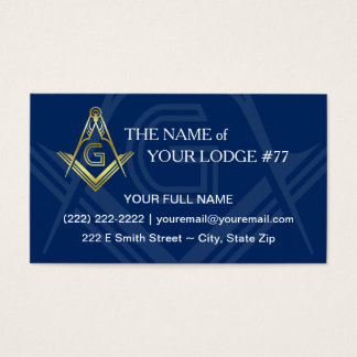 Masonic Business Cards | Navy Blue Gold Freemason