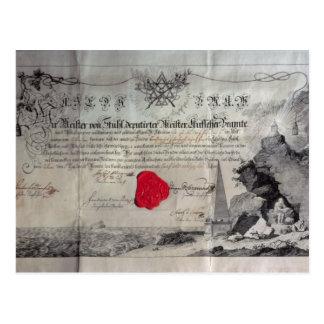 Masonic certificate, 1785 postcard
