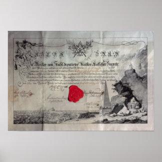 Masonic certificate, 1785 poster