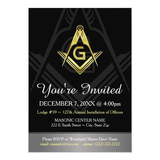 Masonic Invitation Template | Black, Gold & Silver