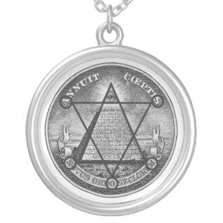 masonic jewel silver plated necklace